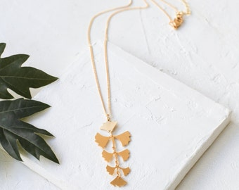 Tropical Fern Necklace, Long Pendant Necklace, Gold & Silver Plated Necklace, Tropical Nature Inspired Necklace, Statement Necklace, Summer