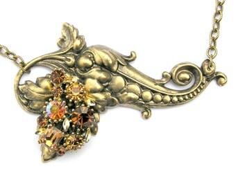 Vintage Rhinestone Antique Gold Necklace, Eisenberg Costume Jewelry