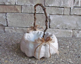 Small Ivory Pumpkin Basket for your Fall Wedding