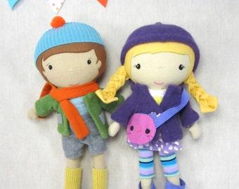"Handcrafted STUDIO DOLL 15"" - Girl in the Hood. Handmade, Doll, Girl, Toy, Plush, Children, Gift, Panda"