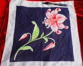 SALE! Vintage Handkerchiefs Hanky. Beautiful Asiatic Tiger Lily. FREE SHIPPING. Unusual with Black Background  Bright Pink.