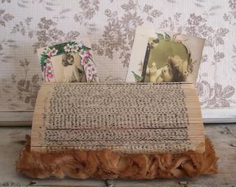 Cottage chic photo message holder vintage book cloth flowers  holder