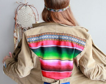Woven Mexican Blanket Serape Corduroy Woven Trim Jacket Fringe Bohemian Upcycled Eco Friendly Native Blanket Applique Jacket/Coat Large