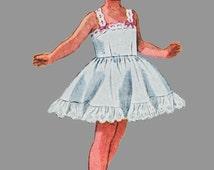 1950s Child's Slip, Petticoat and Panties Pattern, Simplicity 3296 Ruffle half slip, full slip, back ruffle panties bloomers Size 4 Chest 23