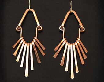 Copper Fringe Earrings . Handmade . Tribal Flare . copper jewelry - handmade in Austin, Tx