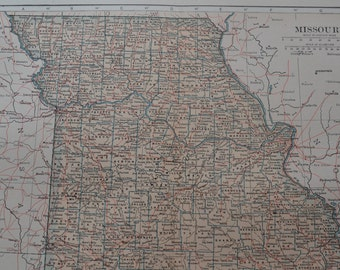 1909 State Map Missouri - Vintage Antique Map Great for Framing 100 Years Old