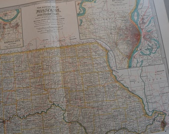 1899 State Map Northern Missouri - Vintage Antique Map Great for Framing 100 Years Old