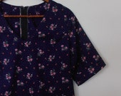 roses and cherries...vintage fabric loose fit shift with sleeves and side seam pockets