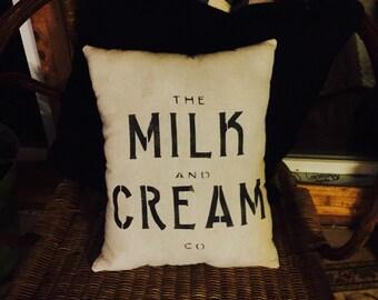 Milk and Cream Farmhouse Pillow