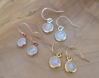 Moonstone Earrings  Bright Drop Studs  Moon Magic