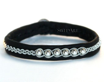 SwedArt B120 Borealis Lapland Sami Bracelet with Sterling Silver Beads and Pewter Button, Black, X-SMALL