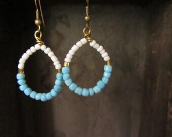 Drop seed bead earrings, beaded dangle earrings, multicolor blue white beads earrings, bohemian jewelry