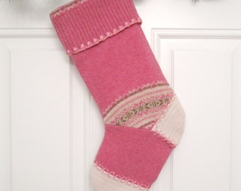 Pink Fair Isle Knit Customizable Christmas Stocking Personalized Holiday Decoration Handcrafted from Felted Wool Sweaters no786
