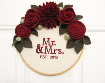Mr & Mrs Wreath Embroidered Hoop Wedding Present Newlywed Door Decoration with Felt Flowers Handcrafted from Felted Wool Sweaters no973