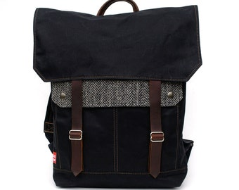 Tall Boy Waxed Canvas Backpack w/ Padded Straps / Black & White Herringbone Recycled Wool READY TO SHIP