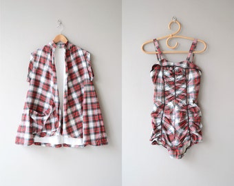 Camp Sherwood swim set | 1950s bathing suit and cover up | plaid 50s swimsuit and jacket