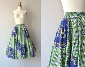 Mandala skirt | vintage 1950s skirt | cotton 50s circle skirt