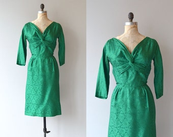 Emerald Twist dress | vintage 1950s dress | silk brocade 50s dress