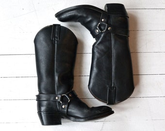 Double H Harness boots | black leather boots | leather biker boots