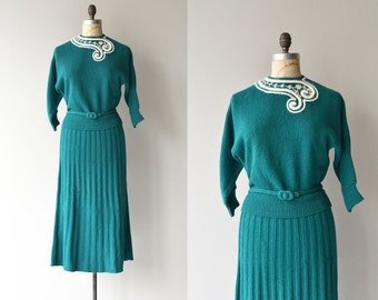 French Curve knit dress set | vintage 1950s knit dress | boucle knit 50s sweater and 50s skirt