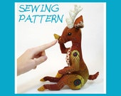 Plush Sewing Pattern - Verdi the Reindeer, a Button Jointed deer plush