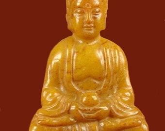 """Old Yellow Jade Hand-Carved Buddha site 2-1/3"""" high"""