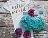 PRE ORDER Baby Girl Take Home Outfit Newborn Baby Girl Hello World Onesie Bloomers Headband Sandals Set Aqua Purple Gold Lola Bean