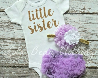 Baby Girl Take Home Outfit Newborn Baby Girl Little Sister Bodysuit Lavender Bloomers Gold White Headband Set