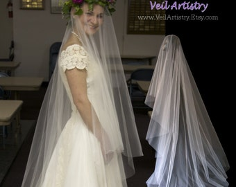 Bridal Veil, Simplicity Veil, Drop Veil, 2 Tier Bridal Veil, Sweep Length Veil, Made-to-Order Veil, Handmade Veil