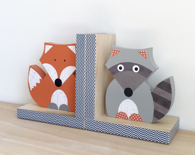 Featured listing image: Forest Animal Bookends, Fox and Raccoon Bookends, Woodland Nursery, Children's Bookends, Forest Themed Nursery, Woodland Animal