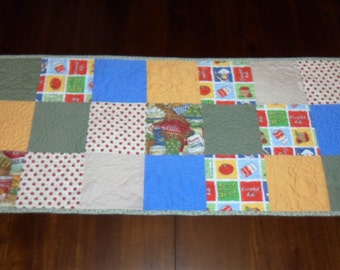 Quilted Table Runner, Gardener Lover, Soup Cans Tomatoes, Table Topper, Sale Priced, 16x37 inches, Dining Table Decor, Machine Quilted