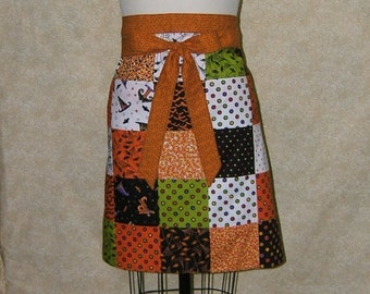 Halloween patchwork Garcon apron hostess apron bats spider web witches hats polka dots cotton pieced orange green black white