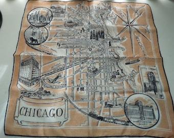 Vintage Chicago Souvenir Hankie