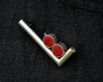 Brooch in L shape with ruby red felty Valentine Jewelry Sterling Silver