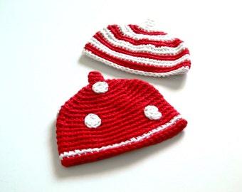 SALE COTTON White Red Newborn Set Pixie Hat Photo Crochet Girl Boy OSU Ohio