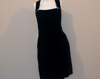 Vintage Dress Navy and Rhinestones Wiggle