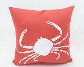 Crab Throw Pillow Cover, Orange Coral Linen Pillow Crab Embroidery, Cottage Beach Decor, Nautical Pillow Case, Sea Life Home Decor, Cushion