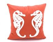 Sea Horse Throw Pillow Cover, Coral Linen White Sea Horses embroidery, Cottage Pillow Case, Coastal Decor, Nautical Pillow, Sea life Pillow