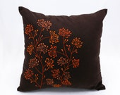 Orange Floral Pillow Cover, Dark Brown Linen Orange Flower, Embroidered, Home Decor, Pillow Shams, Decorative pillow for couch
