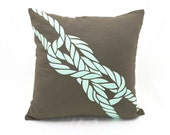 Rope Throw Pillow Cover, Nautical Decor, Taupe Brown Linen Pillow Turquoise Rope Embroidery, Sailing Couch Pillow, Cottage Decor, Coastal