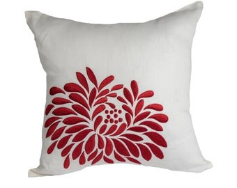 Red Flower Pillow Cover, White Linen Floral Embroidery, White Red Pillow Shams, Floral Bedding, Home Decor, Decorative pillow for couch