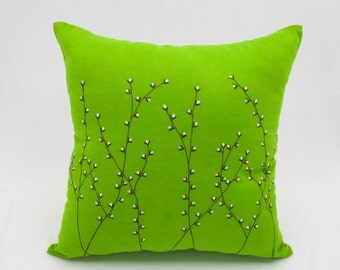Pussy Willow Pillow Cover, Green Linen Brown Pussy Willow, Modern Decorative Throw Pillow, Home living decor, Couch Pillow, Pillow Shams