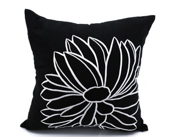 Black White Pillow Cover, Black Linen White Flower Embroidery, Decorative Pillow, Floral Couch Pillow, Flower Cushion, Floral bedding