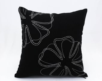 Floral Pillow Cover, Decorative Throw Pillow Cover,  Modern Pillow, Black Linen Pillow, White Flower Embroidery, Home Decor