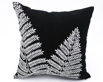 Fern Pillow, Decorative pillows, Throw Pillow Cover, Leaf Cushion, Floral pillow, Embroidery, Black Pillow Case, LInen Pillow, Sofa Pillow