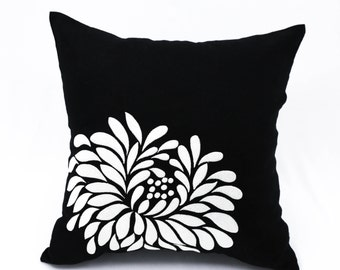 Gray Black Pillow Cover, Black Linen Light Grey Flower, Embroidered, Flower Cushion, Floral Throw Pillow, Decorative pillow for couch
