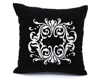 Silver Damask Pillow Cover, Black Linen Light Gray Silver Medallion Embroidery, Classic Pillow Case, Black Gray Cushion, Damask Bedding