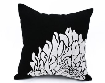 Silver Black Throw Pillow Cover, Black Linen Silver Gray Flower, Decorative Pillow Cover, Modern Home Decor, Embroidered Pillow Case,Cushion