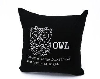 OWL Throw Pillow Cover, Black Linen Gray Owl Embroidery, Bird Pillow Case, Owl Decoration, Modern Pillow, Bird Decoration, Owl Couch pillow