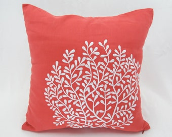 Nautical Coral Pillow Cover, White Coral Embroidery Orange Linen Pillow, Coral Decor, Nautical Decor, Cottage beach Pillow, Coral Cushion